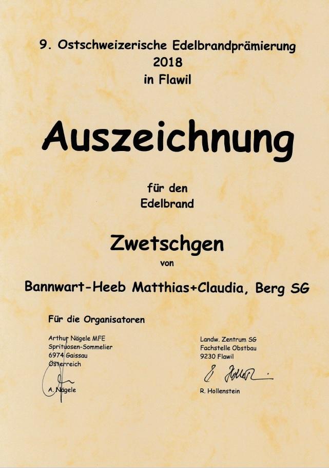 9. Ostschweizerische Edelbrandprämierung 2018